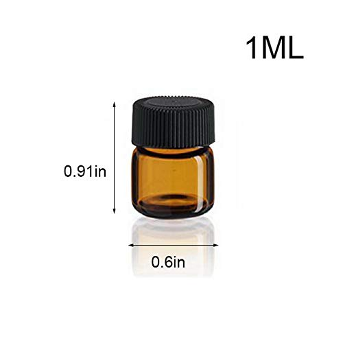 SIMPLE-E 100pcs 1ml 1 4 dram Amber Mini Glass Bottle 1cc Amber Sample Vial Small Essential Oil Bottle Travel Must 1PC Glass clean cloth