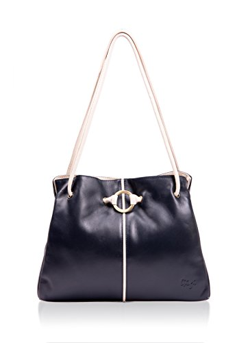 Navy Bag Leather Ivory Gigi Ring Black Shoulder Detail Ladies Navy w8XHqT1n