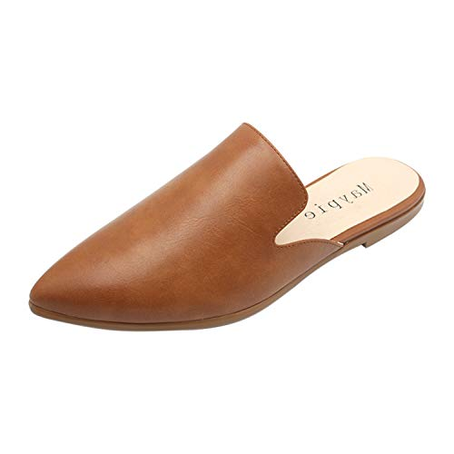 MAYPIE Womens Flat Mules Closed Pointed Toe Slip On Loafer Slides Backless Shoes, Brown, 8 B(M) US