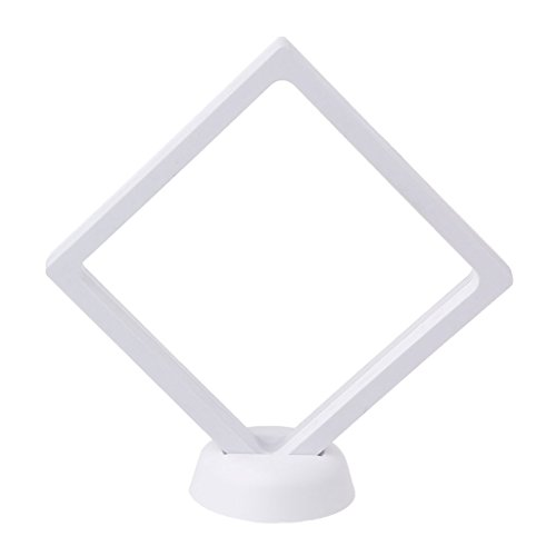 Milue Jewelry Floating Suspended Display Case Coins Gems Artefacts Stand Holder Box (White) (Lure Display)