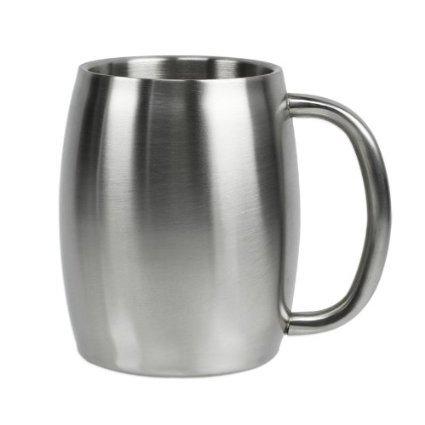 Stainless Steel Beer Mug, Coffee Mug, Desk Mug, Smooth sides 14oz