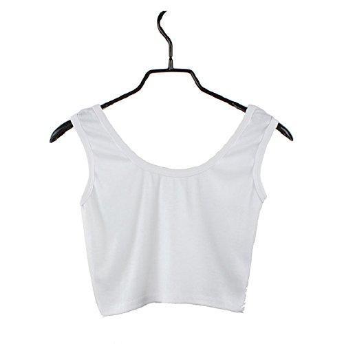 Maglietta Gilet Collo Donne Magro Corto Nudo Bianco Danza Stretto Sportivo O Senza Ombelico Tops Maniche Malloom® t4nxdzwYx
