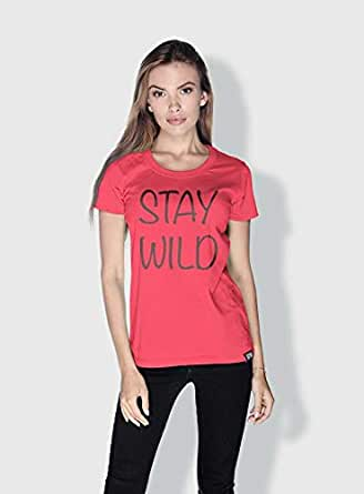 Creo Stay Wild Trendy T-Shirts For Women - S, Pink