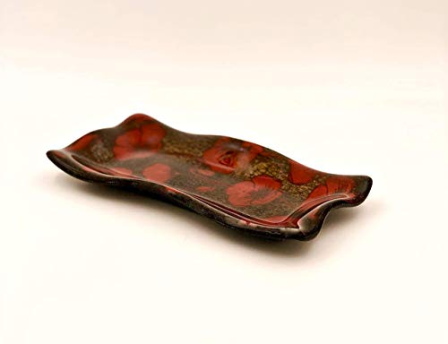 (Spanish Dancer Handcrafted Fused Glass Decorative Bowl With Red Poppies)