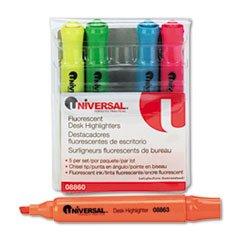 Highlighter Five Color Set Fluorescent - - Desk Highlighter, Chisel Tip, Fluorescent Colors, 5/Set