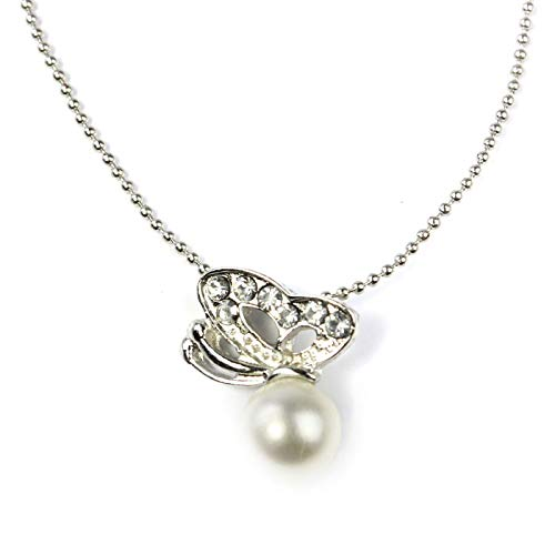 Wave Sterling Silver Solid Cross (LiLiMeng New Korean Diamonds Butterfly Beads Round White Pearl Alloy Elegant Pendant Necklace)