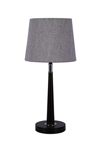 Anodetude,Contemporary Table Lamp, Solid Wooden Base with Chrome Deco,Includes Liner Fabric Shade and LED Bulb
