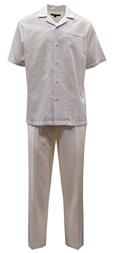 Saint Lorenzo Seersucker 3-Piece Set: Hat, Shirt & Pant (4XL/48, White) -
