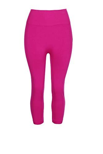 (Crush Womens Seamless Knee Length High-Waist Capri Leggings Pants Fuchsia)
