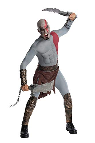 God Of War Costumes For Halloween (God of War Adult Kratos Muscle Chest Costume with Gauntlets, Multicolored,)