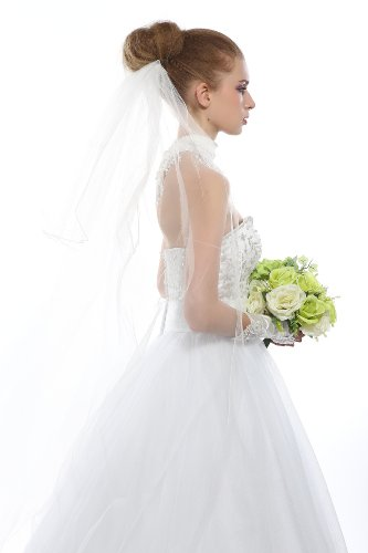 Top-Sexy Women's 3M 2T 2 Tie Silver Lined Embroidery Edge Wedding Veils Long Two Layers 10 (Light Ivory)