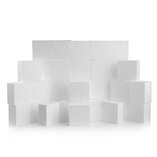Art Arrangements Floral - Silverlake Craft Foam Block - 36 Pack of 4x4x2 EPS Polystyrene Styrofoam Blocks for Crafting, Modeling, Art Projects and Floral Arrangements - Sculpting Blocks for DIY School & Home Art Projects (36)