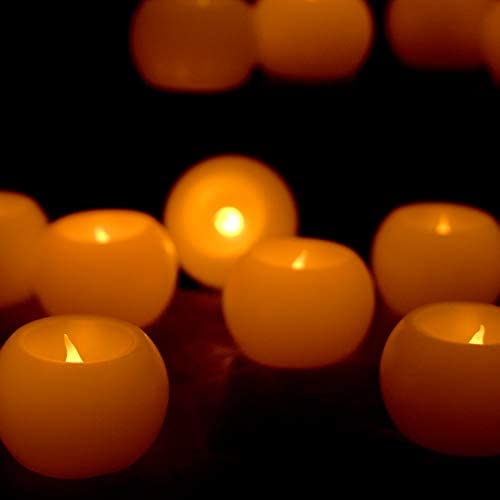Furora LIGHTING Flameless LED Tea Lights, Votive Tealight Candles Battery Operated – Real Wax Round Shaped Votives LED Tea Lights Candles with Realistic and Romantic Flickering Flame – Pack of 12