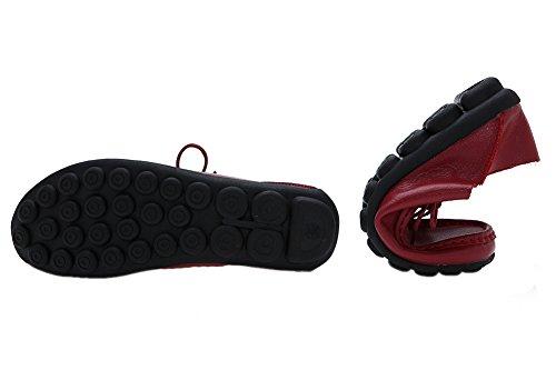 Wenhong Kvinnor Arbetar Komfortläder Spets-up Sneakers Arbetsskor Vin