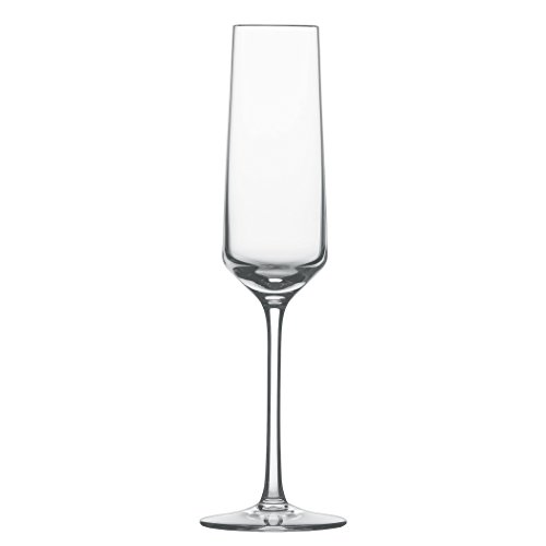 Schott Zwiesel Tritan Crystal Glass Pure Stemware Collection Champagne Flute with Effervescence Points, 7.1-Ounce, Set of 4 (Tall Flute)