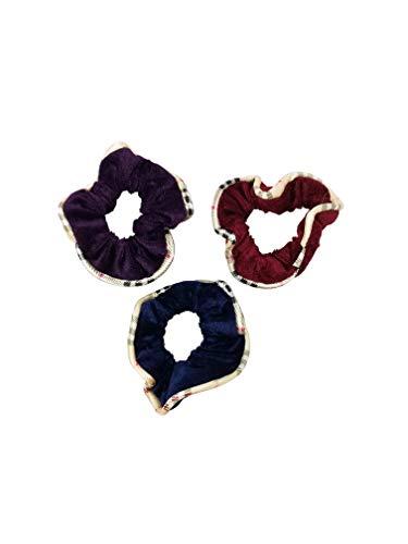 (Evogirl Rubberbands Scrunchies Velvet Quilted Print Playful Shades Ponytailers Hair Blue,Violet,Magenta Medium Size for Women/Girls)