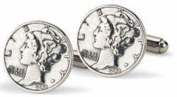 Tokens & Icons Mercury Dime Sterling Silver Settings Cufflinks (8M) ()