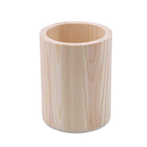 (Essencedelight Wooden Pen Holder Stand Desk Organizer Multi Purpose Use Pencil Box Kids DIY Coloring Case Round Storage Tube)