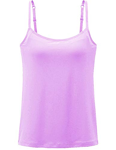 Womens Tank Tops Adjustable Strap Camisole with Built in Padded Bra Vest Cami Sleeveless Top for Yoga Daily Wearing Purple S