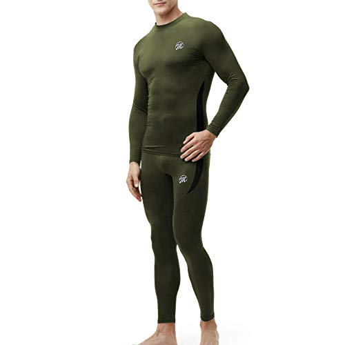 Men's Thermal Underwear Wintergear Fleece Long Johns Compression Base Layer Set Skiing Warm Top & Bottom (Army Green, L)
