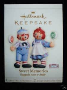 Sweet Memories Raggedy Ann and Andy 2 ornament set 2006 Hallmark ornament