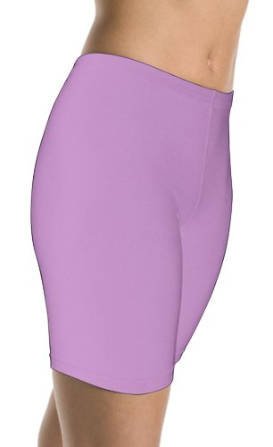DanceNwear Adult Cotton Blend Yoga/Jazz/Dance Bike Shorts (MEDIUM, Lavender) - Lavender Cotton Shorts