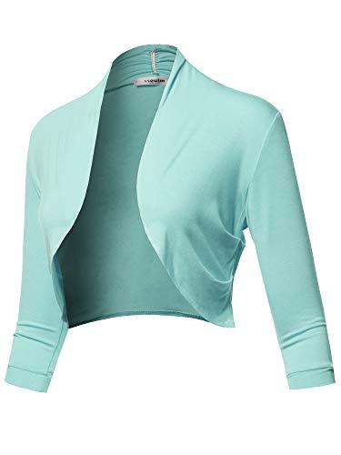 SSOULM Women's 3/4 Sleeve Shirring Bolero Shrug Cardigan with Plus Size