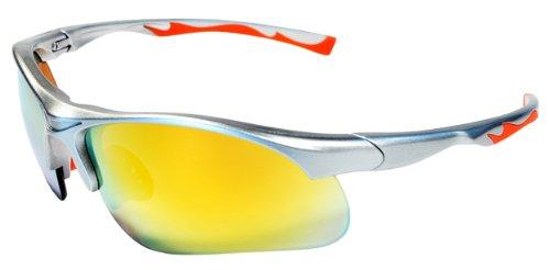 Sunglasses JM12 Sports Wrap for Baseball, Softball, Cycling,Golf TR90 Frame Mirror Lens (Silver & - For Softball Sunglasses