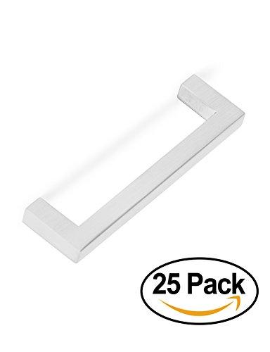 BirdRock Home Square Contemporary Handle | Brushed Nickel | 25 Pack | 3.75 Inch Kitchen Cupboard Furniture Cabinet Hardware Drawer Dresser Pull (Home Hardware)