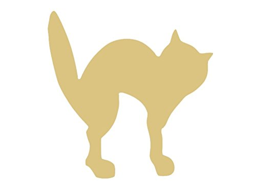 Spooky Cat Cutout Unfinished Wood Halloween Scary Cute Party Decor MDF Shape Canvas Style 1 -