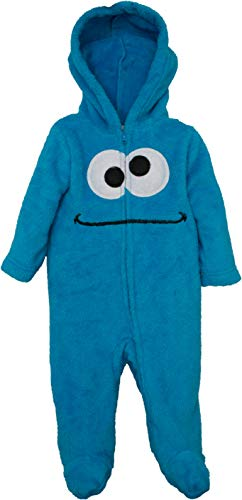 Sesame Street Cookie Monster Newborn Baby Boys' Zip-Up Hooded Costume Coverall with Footies, -