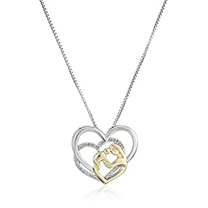 Sterling Silver and 14k Yellow Gold Mother's Jewel Diamond Triple Heart Pendant Necklace, 18""
