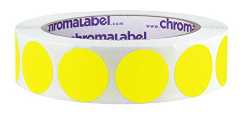 (ChromaLabel 1 inch Removable Color-Code Dot Labels | 1,000/Roll (Yellow))