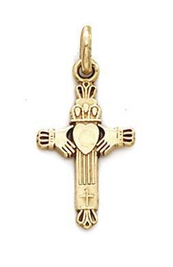 Petit Claddagh 14 Carats Pendentif croix-JewelryWeb