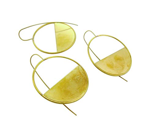 4pcs Large Half Circle Modern Earring Blanks Bases Minimal Embossed Custom Raw Brass Gold Tone