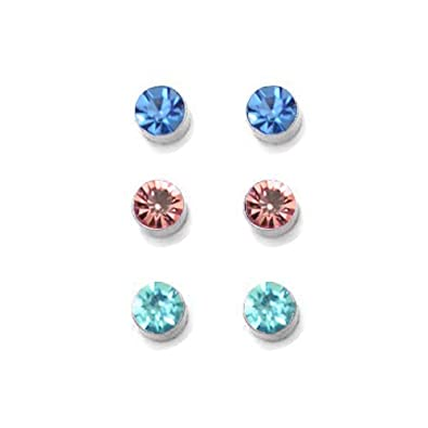 Via Mazzini Clip On Set Of 3 Magnetic Studs For Non-Pierced Ears (ER0504) Earrings at amazon