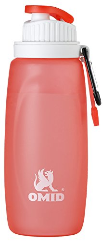 14 French Red Rubber (OMID Collapsible Water Bottle - 14 OZ Sports and Travel Camping Drink Water bottles with Easy Cap)