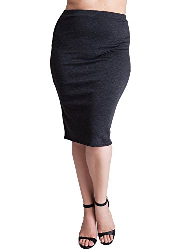 Woman Gray Plus Size Banded Waistline Pencil Skirt