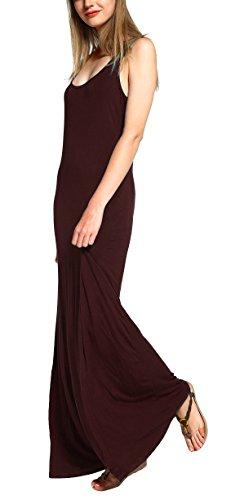 Urban CoCo Women's Casual Sleeveless Tank Top Maxi Beach Long Dress (L, Rum Raisin)