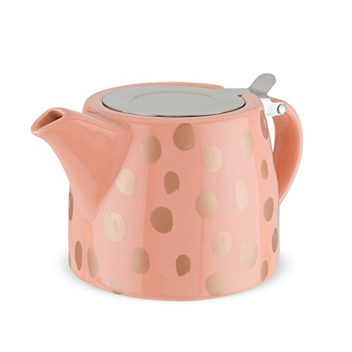 Harper Ceramic Teapot & Infuser by Pinky Up (Peach Dots)