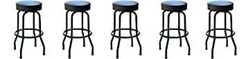 Richardson Seating 0-1950BLKBLK Swivel bar Stool with Frame Seat, 30 , Black 5- Pack
