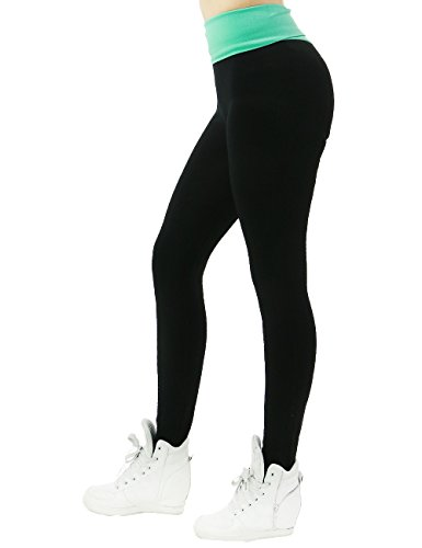 Womens Active Comfy Super Stretch Fitted Style Color Band Waist Leggings (ONE SIZE, MINT)