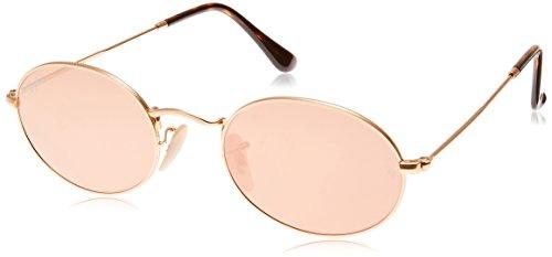 (Ray-Ban RB3547N Oval Flat Lenses Sunglasses, Shiny Gold/Copper Flash, 51 mm)