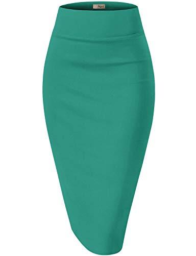 Womens Pencil Skirt for Office Wear KSK45002X 1073T Jade 1X