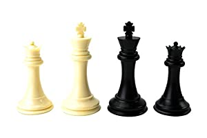 Quadruple Weight Tournament Chess Game Set - Chess Board Game with Staunton Ivory Chess Pieces, Green Vinyl Chess Board and Chess Strategy Guide