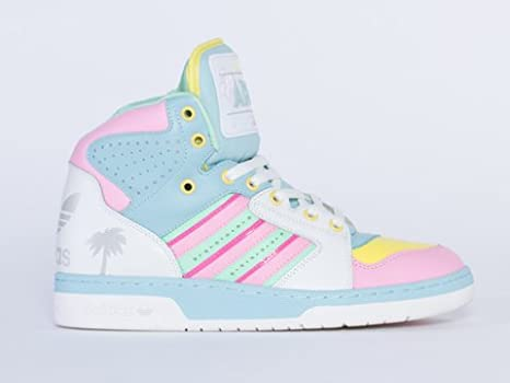 a13b95d65908 adidas Jeremy Scott License Plate Miami - White Pink-Green