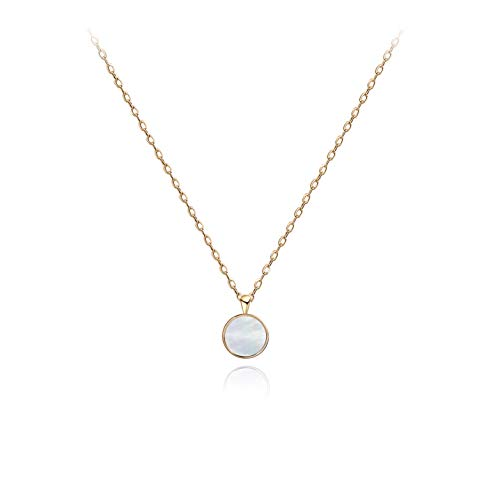 S.Leaf Tiny Round Mother of Pearl Necklace Sterling Silver Circle Disc Pendant Shell Pendant Necklace (Yellow Gold)
