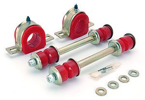 Energy Suspension 3.5178R Sway Bar Bushing Set; Red; Front; Bar Dia. 1.25 in.; Greasable Frame Bushings; Incl. Sway Bar End Links; Performance Polyurethane;