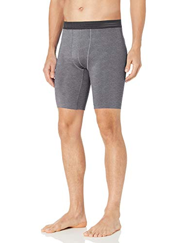 Hanes Men's Sport Performance Compression Short, Charcoal Heather/Ebony, Large
