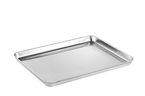Baking Sheets, HEAHYSI Stainless Steel Cookie Sheets, Toaster Oven Tray Pan Rectangle Size 16Lx12Wx1H inch, Non Toxic & Healthy,Superior Mirror Finish & Easy Clean, Dishwasher Safe